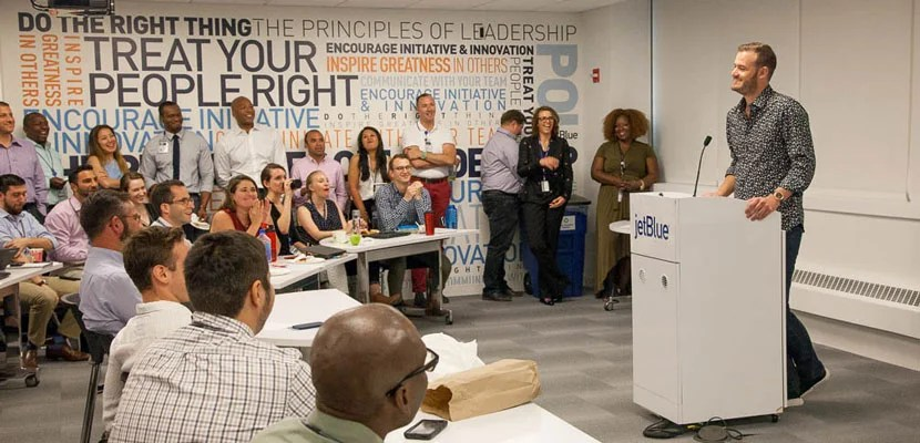 Brian Speaking at JetBlue Headquarters.
