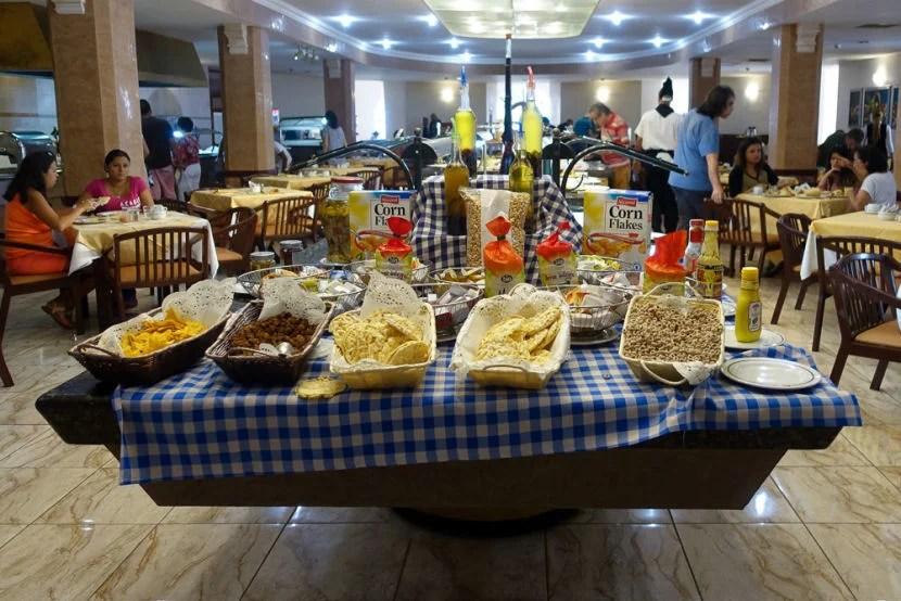 The breakfast buffet had a lot of offerings.
