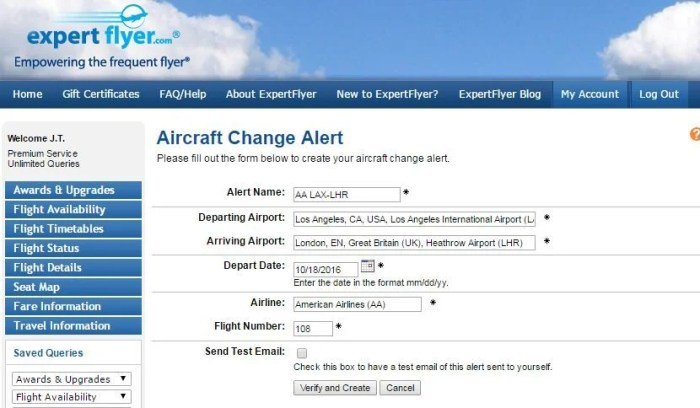 Use <strong>ExpertFlyer</strong> to be alerted of any equipment changes.