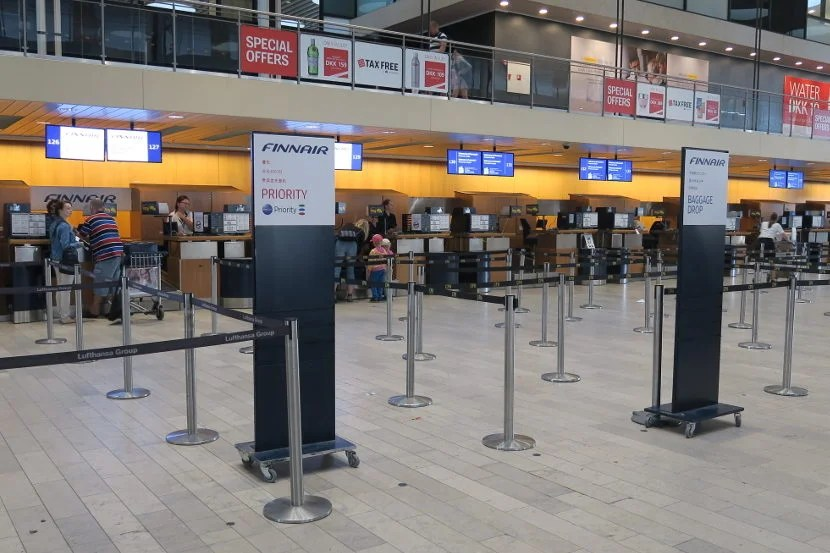 The Copenhagen Finnair check-in area was small and empty.