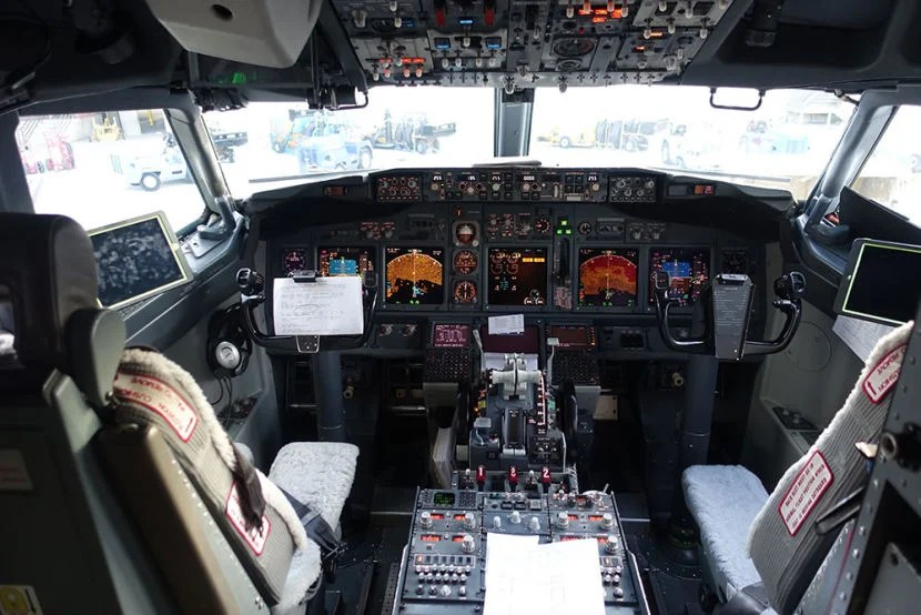 I got a peek inside the cockpit of our Boeing 737 before deplaning.