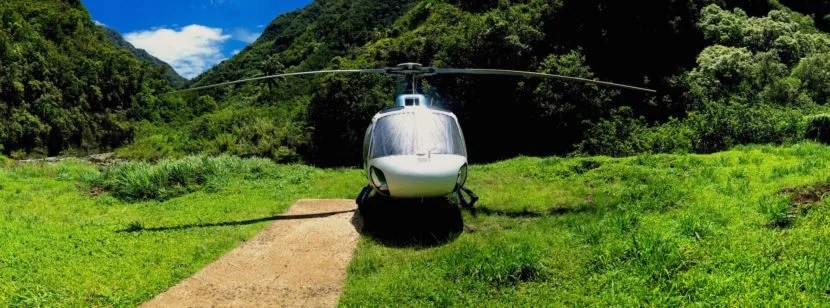 The AS-350 helicopter I took for a spin on the Jurassic Falls Tour. Image by the author.