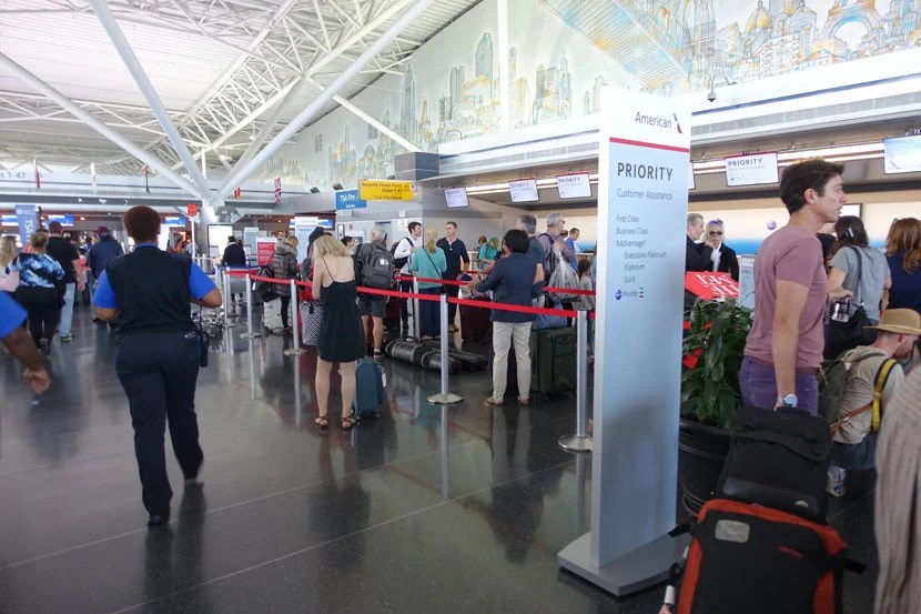 The new American Airlines Priority Check-in counter at JFK.