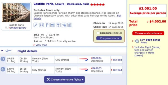 Newark (EWR) to Paris (ORY) round-trip in Club World + two nights at the Castille Paris for $2,001 per person.