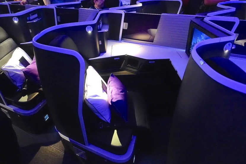 The center seats are angled inward but have a privacy divider.