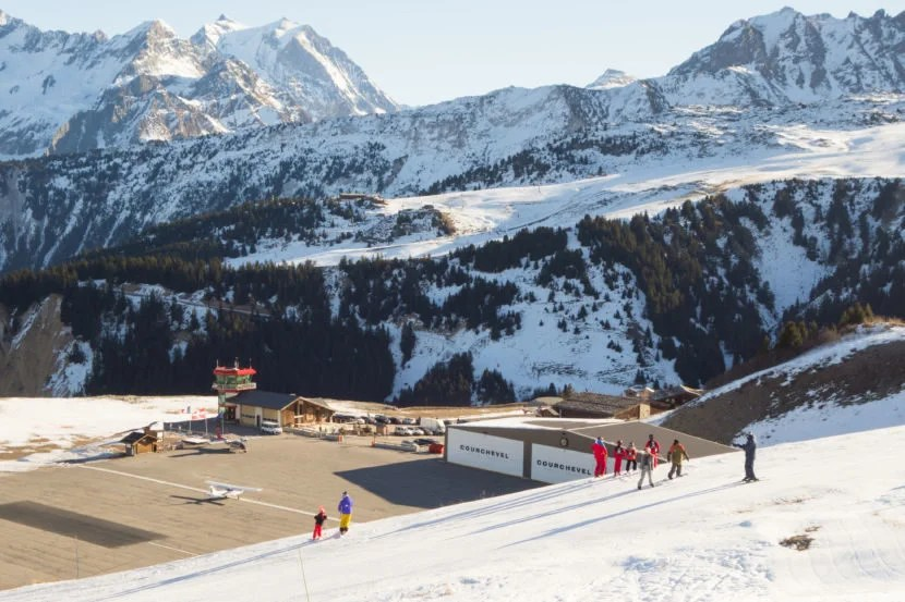 "The alps make for a tricky approach into Courchevel Airport. Image courtesy of <a href=""http://www.shutterstock.com/pic-415814533/stock-photo-courchevel-valleys-trois-vallees-savoie-french-alps-france-december-skiers.html?src=xKRmdR12XO65mSMVKln9Iw-1-0"" target=""_blank"">Shutterstock</a>."