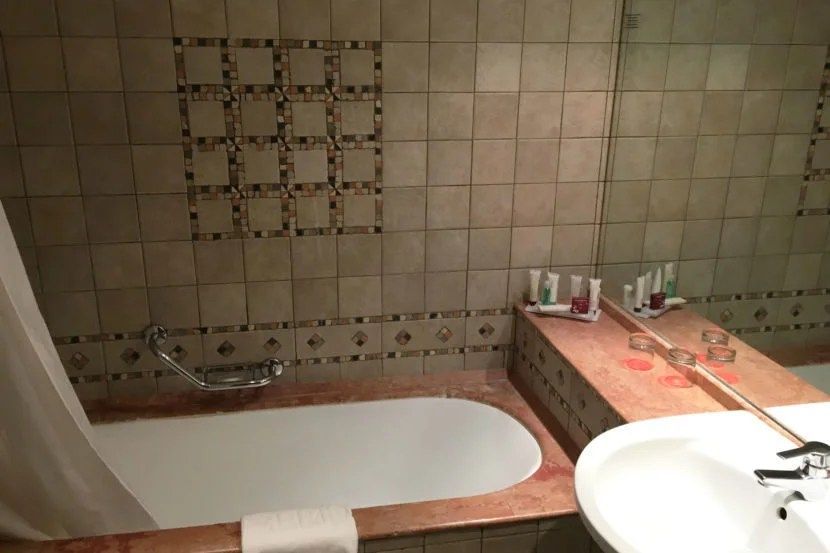The bathroom featured very nice tiles.