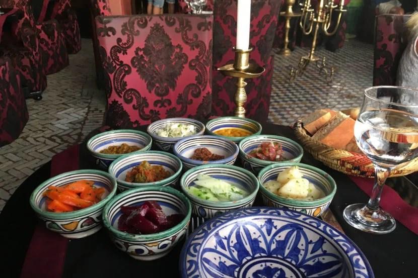 Tasting traditional Moroccan salad in Marrakesh.