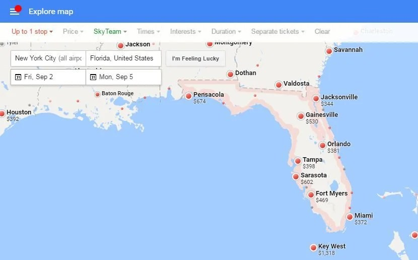 Options from NYC to Florida on Delta over Labor Day weekend.