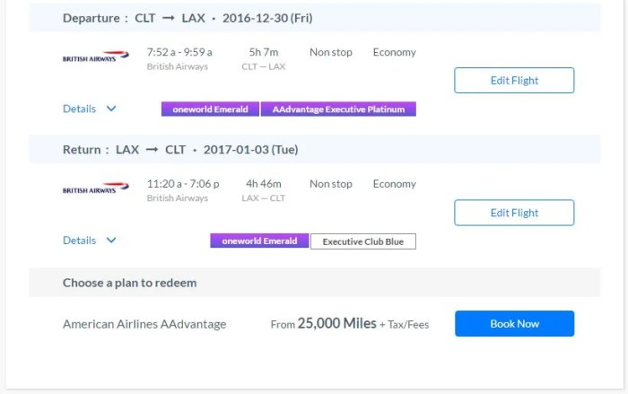 Although the search results reflected BA availability, this option is only available with AAdvantage miles.