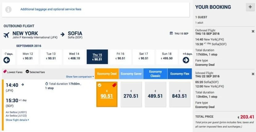 New York (JFK) to Sofia (SOF) for $227 round-trip on Air Serbia.