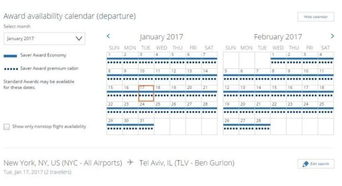 UA NYC - TLV Calendar