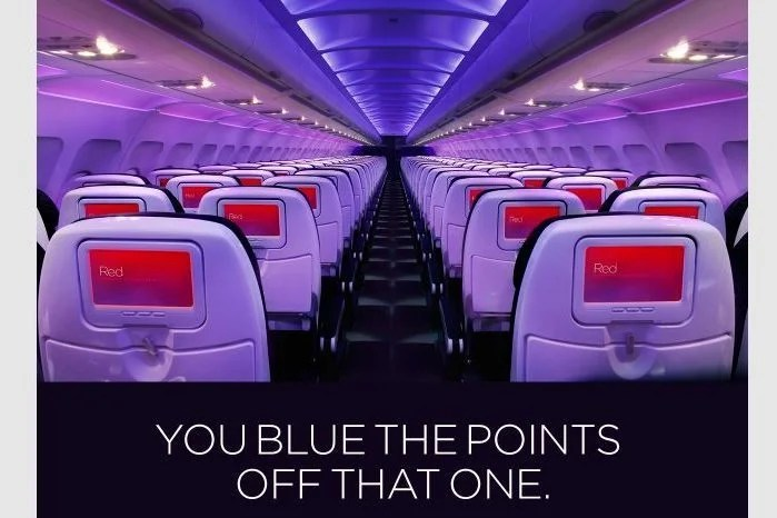 """Virgin America's """"blue"""" references hints that the JetBlue match was the prompt for the targeted offer."""