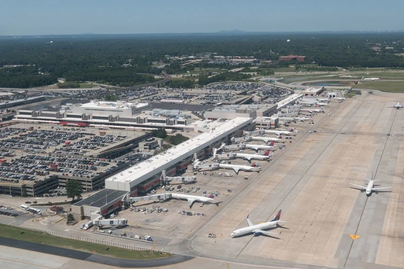 "Atlanta is the busiest airport in the world. Image courtesy of <a href=""http://www.shutterstock.com/pic-314376227/stock-photo-atlanta-georgia-august-aerial-view-of-hartsfield-jackson-atlanta-international-airport.html?src=qr6dAKZhZLdw4xDdY5KU4w-1-1"" target=""_blank"">Shutterstock</a>."