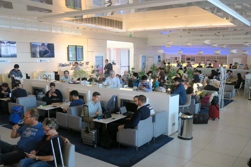 The Finnair Lounge was busy this afternoon.