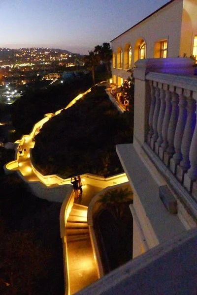 Ritz-Carlton Laguna Niguel beach walkways lit up at night