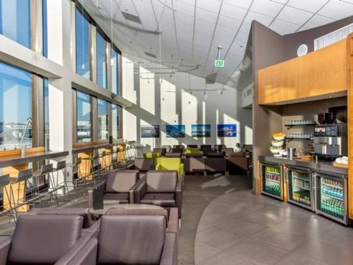 The lounge is accessible from all concourses at SEA via a quick ride on the train. Image courtesy of Priority Pass.