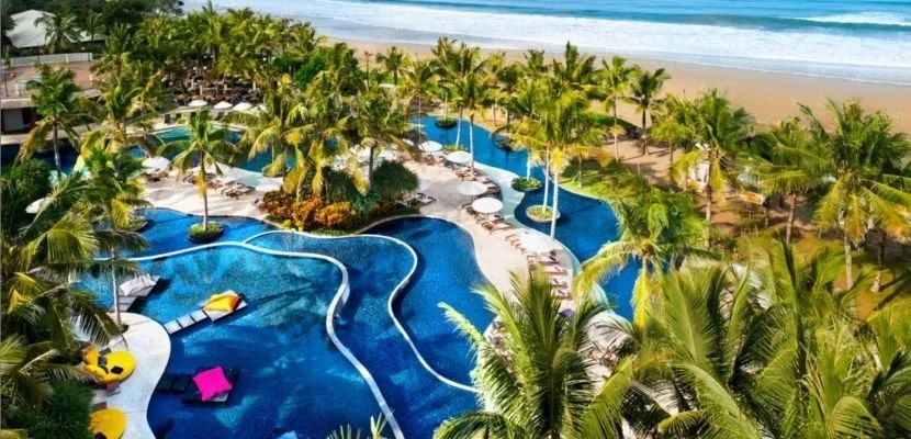 The expansive pool area at the W Retreat and Spa in Bali