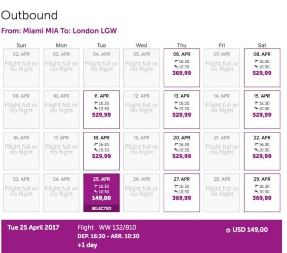 Fares from Miami (MIA) to London (LGW) for $150 one-way.