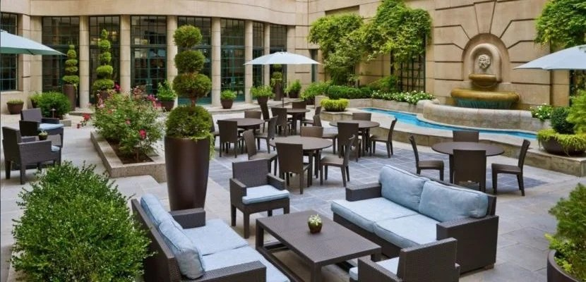 On a nice day, enjoy a drink or bite to each in the courtyard at the Westin Georgetown.