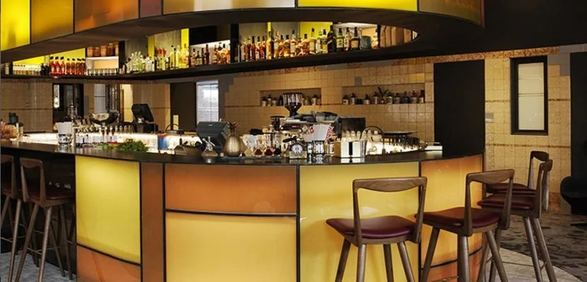 The sleek bar of the Old Clare Hotel in Sydney, Australia