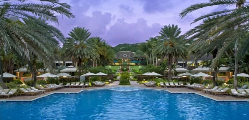 The pool area of the Westin St. John Resort at sunset