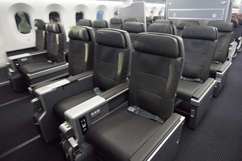 The 2-3-2 premium economy cabin on AA's 787-9. Photo courtesy of American Airlines.