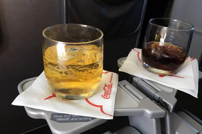 Despite the short hop, we were still served drinks in-flight.