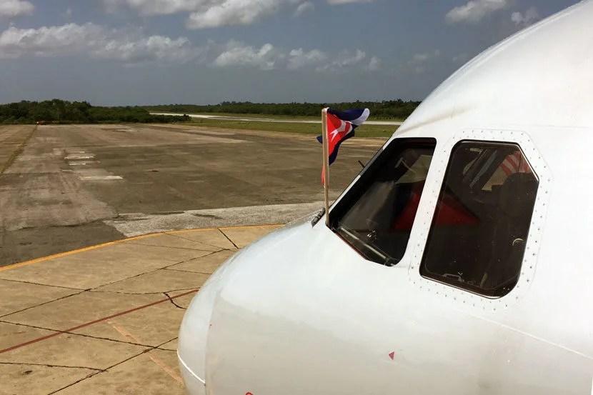Our Airbus A319 aircraft sporting a Cuban flag.