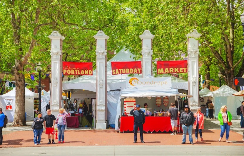 Shop from local artists at Portland's Saturday Market. Image courtesy of Shutterstock.