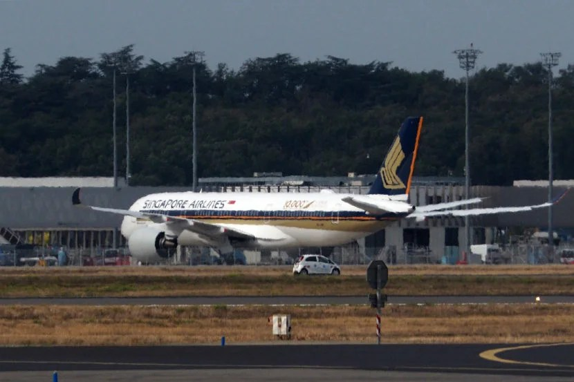Singapore Airlines' latest A350 at Toulouse.