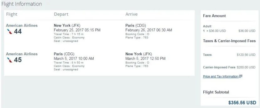 New York's JFK to Paris (CDG) for $357 round-trip.