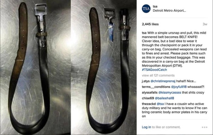 This clever belt knife was discovered by TSA agents at Detroit Metro International Airport (DTW).