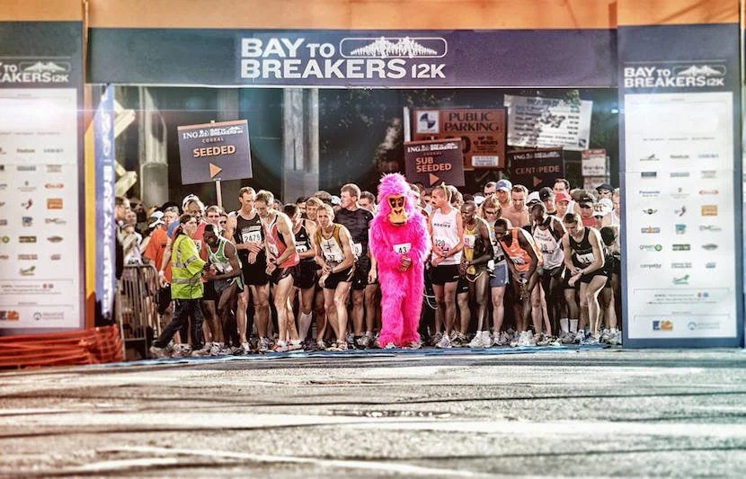 "Race through San Francisco during this iconic race. Image courtesy of Bay to Breakers' <a href=""https://www.facebook.com/baytobreakers/photos/a.341045670450.347792.122208920450/10155599340560451/?type=3&theater"">Facebook page</a>."