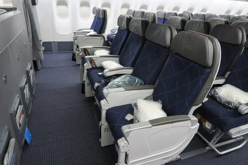 Row 13 is the first row of the forward economy cabin.