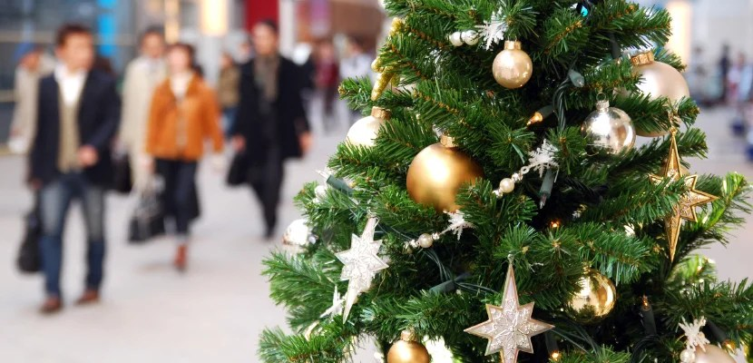 Shoppers in mall by christmas tree.