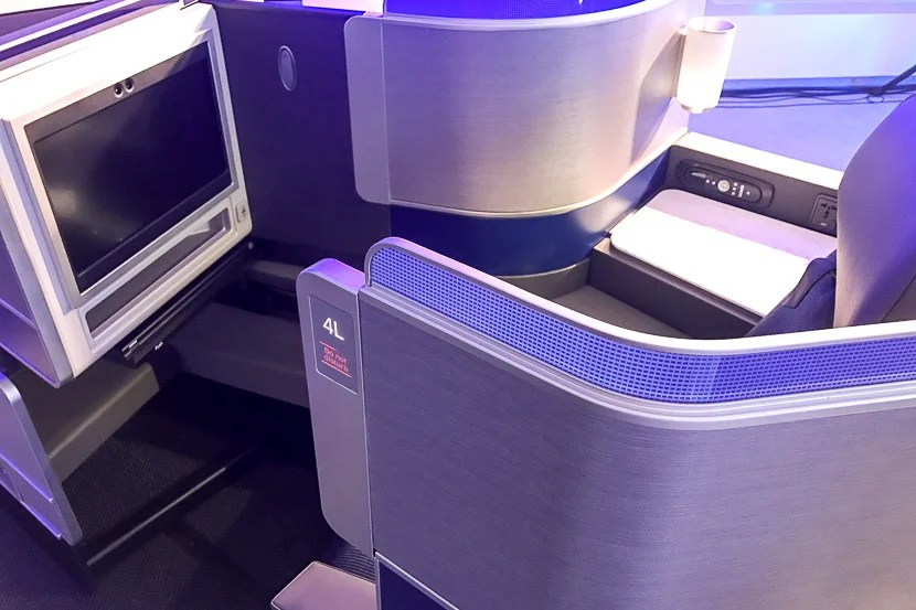 The new Polaris business class seat affords a much greater amount of privacy.