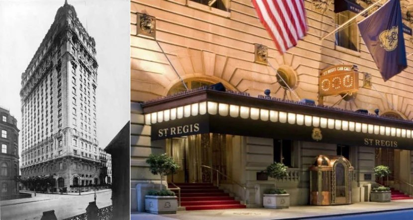 Image courtesy of Library of Congress (left) and the St. Regis New York (right).