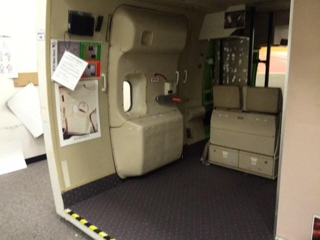 We got to practice using the emergency exit door simulator.