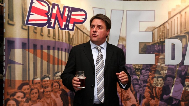 BNP leader Nick Griffin holds a press conference in the Ace of Diamonds pub, Manchester