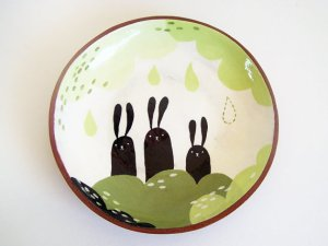 Susan Simonini Three Bunnies Plate