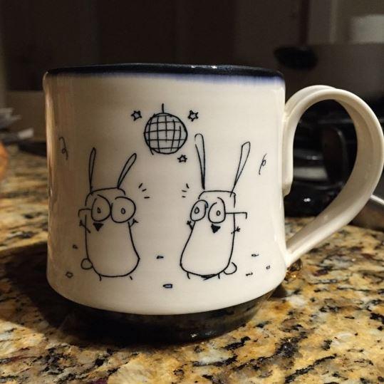 Rob Kolhouse Disco Bunnies Mug