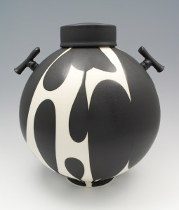 Sam Scott Black and White lidded Jar with Handles- 13in tall