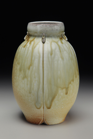 David Voorhees, Porcelain Amber Lugged Bottle Vase