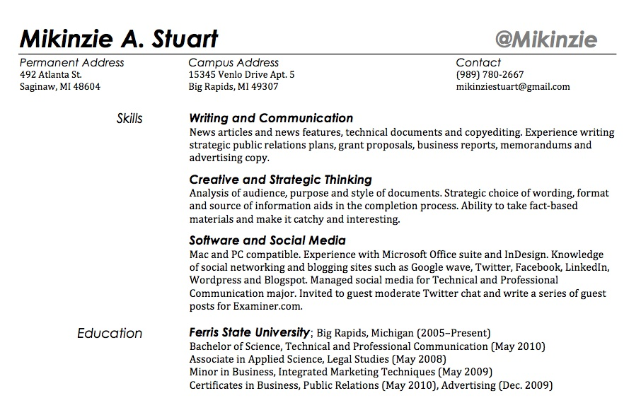 Personal Interests Section. Resume Interest Section
