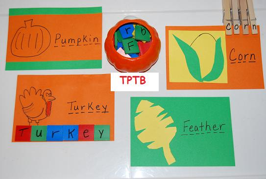 Thanksgiving Theme Rhyming Words for Preschool and Kindergarten