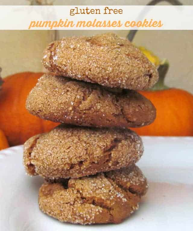 Gluten free pumpkin molasses cookies. Soft and chewy and delicious! Vegan option, too! #pumpkin #cookies #vegan #glutenfree