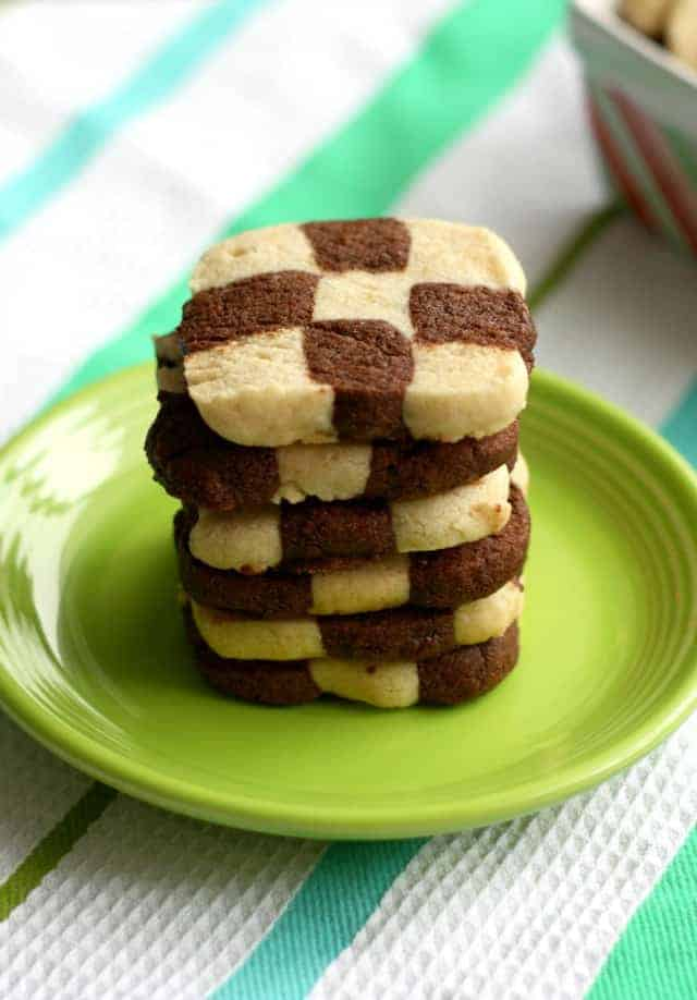 Vanilla and chocolate checkerboard cookies are so festive for the holidays! This version is vegan and gluten free, so everyone can enjoy them!