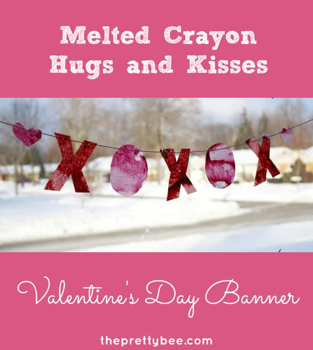 Melted crayon valentine's day banner