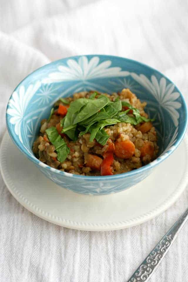 Spiced lentils and brown rice made in the crock pot. #vegan and #glutenfree